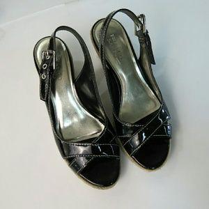 Franco Sarto Black Patent Leather Sandals Size 8